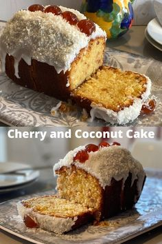 Cherry And Coconut Cake, Coconut Loaf Cake, Coconut Tart, Cherry Cake, Coconut Cream, Tea Cakes, Cupcake Cakes, Cupcakes, Tart Recipes