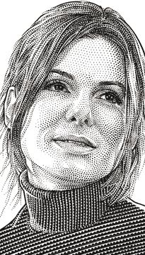 Wall Street Journal portrait (hedcut) of Sandra Bullock Celebrity Caricatures, Celebrity Drawings, Pencil Portrait, Portrait Art, Realistic Cartoons, Stippling Art, Scratchboard Art, Black And White Drawing, Iconic Movies