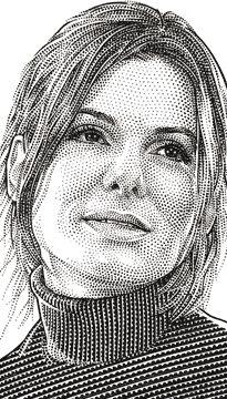 Wall Street Journal portrait (hedcut) of Sandra Bullock