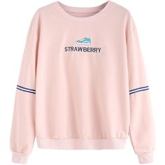 SheIn(sheinside) Pink Embroidered Sweatshirt With Sleeve Tape Detail ($15) ❤ liked on Polyvore featuring tops, hoodies, sweatshirts, pink, pink long sleeve top, embroidered sweatshirts, long sleeve pullover, pink pullover and embroidered top