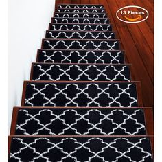 """Shop SUSSEXHOME Trellisville Collection Stair Treads Polypropylene 9""""x28"""" - On Sale - Overstock - 31045220 - Brown - 13-PACK Stair Tread Rugs, Carpet Stair Treads, Carpet Stairs, Stair Slide, Blue Carpet, Online Home Decor Stores, Trellis, Animal Print Rug, Modern Contemporary"""