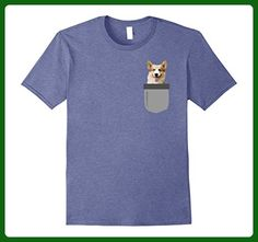 Mens Gifts for Corgi Owners Shirts- Dog in your Pocket Tee Shirts 3XL Heather Blue - Animal shirts (*Amazon Partner-Link)