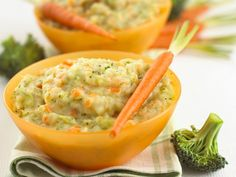 Carrots, broccoli and cheese puree