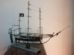 Nautical steam punk metal Pirate ship lamp by StoneAlleyDesign, $50.00
