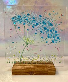 Cheerful Turquoise Allium Flower fused glass Art Picture Sun   Etsy Glass Flowers, Allium Flowers, Wooden Display Stand, Neurone, Glass Art Design, Glass Fusing Projects, Glass Art Pictures, Glass Wind Chimes, Glass Artwork