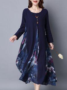 O-NEWE M-5XL Vintage Long Sleeve Printing Patchwork Maxi Dress