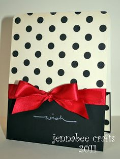 Black and white polka dot card with red bow...how cute!