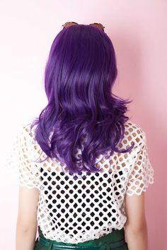 7b613c9bf84e5 Harajuku Purple Cosplay Full Wig Womens Medium Long Curly Wavy Party Hair  Wigs  Full Wig Womens