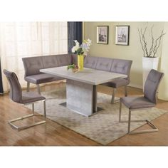 Kalinda 4 PC Dining Set With Nook In Grey By Chintaly Imports