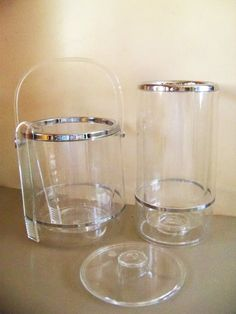 Retro Mad Men Serving Barware Lucite and Chrome Ice Bucket, Tongs and Wine Cooler Set. $35.00, via Etsy.