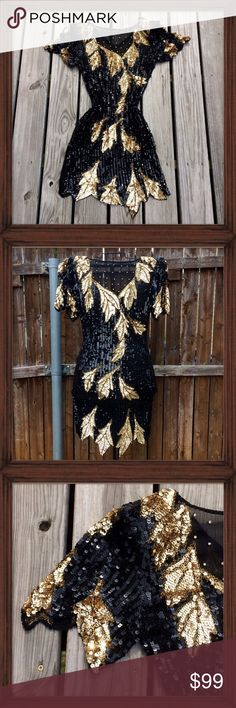 Vintage Silk Sequin Dress; NWOT This vintage dress is 100% silk. It features an asymmetrical hemline and is covered in black and gold sequins forming a leaf pattern. There are shoulder pads and it zips up in the back. A sheer panel on the neckline has clear stones. It also has dual slits on both sides for a sexy flare. It is in perfect condition. NWOT Dresses Asymmetrical