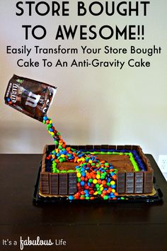 Easy Birthday Cake Decorating Idea: Make an Anti-Gravity Cake. I have NEVER decorated a cake before but I was able to do this and ALL of the kids at my son's party were asking me to make their next cake. It was super easy and definitely a hit!!