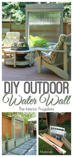 DIY Outdoor Water Wall Have you wanted a water feature in your yard but the cost of having one is over your budget? Here we show you how to build a DIY Outdoor Water . Modern Water Feature, Diy Water Feature, Backyard Water Feature, Indoor Water Features, Small Water Features, Water Features In The Garden, Diy Water Fountain, Diy Garden Fountains, Outdoor Fountains