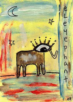 eleyephant e9Art ACEO Elephant Outsider Folk Art Brut Painting