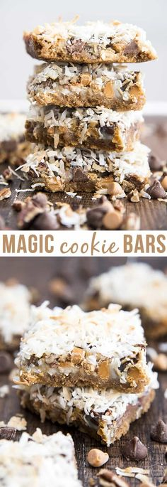 These magic cookie bars are layer upon layer of goodness with a buttery graham cracker crust, butterscotch chips, chocolate chips, pecans, coconut and sweetened condensed milk, for the ultimate sweet treat.