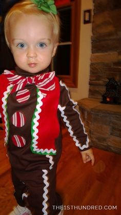 DIY cheap, easy, fast Gingerbread Man (or girl as seen here) costume for Halloween or Christmas from the1sthundred.com