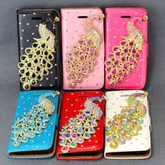 For iPhone 5C Bling Peacock Leather Flip Wallet Handbag Magnetic Skin Case Cover