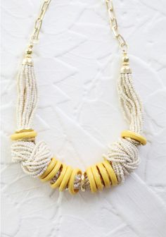 Bahama Nights Beaded Necklace In Yellow