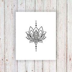 Tatuaje temporal de Lotus / tatuaje temporal bohemio por Tattoorary