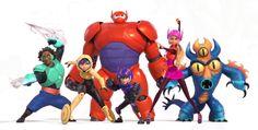 Hiro Hamada, Baymax, GoGo Tomago, Honey Lemon, Wasabi and Fred the Big Hero 6 team trio Walt Disney, Disney Wiki, Disney And Dreamworks, Disney Magic, Big Hero 6 Characters, Disney Characters, Disney Movies, Disney Animation, Animation Film