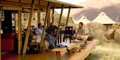 Guests with their guide Bouldering, Lodges, Safari, Camping, Patio, Island, Outdoor Decor, Home Decor, Campsite