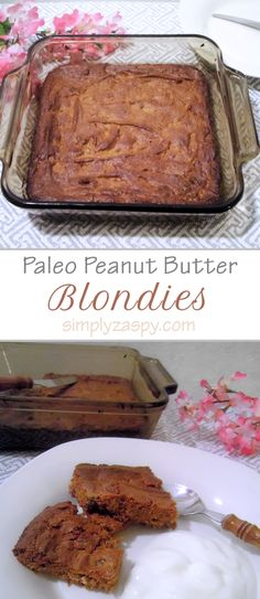 Quick & Easy recipe for my Homemade Paleo Peanut Butter Blondies! No Coconut/Almond Flour require, and only take 10 min. to prep ♥