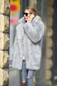 Olivia Palermo Wearing a grey fur coat in Brooklyn