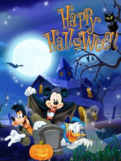 Happy Halloween - Mickey and friends. Disney Halloween, Retro Halloween, Spooky Halloween, Halloween Cards, Holidays Halloween, Spirit Halloween, Halloween Decorations, Halloween Costumes, Happy Halloween Quotes