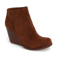 Women's Kork-Ease Natalya Wedge Bootie ($180) ❤ liked on Polyvore featuring shoes, boots, ankle booties, brown suede, suede booties, ankle boots, cowgirl boots, brown suede boots and wedge ankle boots