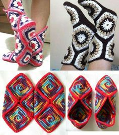Crochet Boot Socks, Crochet Sandals, Knitted Slippers, Crochet Slipper Pattern, Crochet Patterns, Easy Crochet, Knit Crochet, Granny Square Slippers, Fabric Yarn