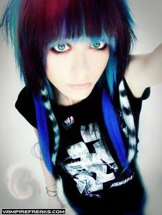 very emo love the colors in her hair