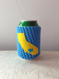 University of California Los Angeles, UCLA Bruins | Los Angeles, California Crochet Beer Coozie, Coffee Cup Cozy, Bottle Coozie by Maroozi by Maroozi on Etsy