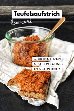 Devil spread - Holla the cook fairy-Teufelsaufstrich – Holla die Kochfee Devil spread from the oven, perfect with low carb bread - Healthy Dinner Recipes, Low Carb Recipes, Breakfast Recipes, Diet Recipes, Low Carb Bread, Keto Snacks, No Carb Diets, Food Items, Relleno