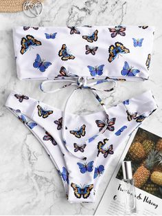 ZAFUL Butterfly Print Lace Up Bandeau Bikini Swimwear ZAFUL Butterfly Print Lace Up Bandeau Bikini Swimwear,# Swimsuits ZAFUL is your one-stop online shop for today's most daring, exciting and edgy fashion apparel. Bandeau Bikini, Bikini Swimwear, Blue Bikini, Bridal Swimwear, Summer Swimwear, Summer Bathing Suits, Girls Bathing Suits, Target Bathing Suits, High Cut Bikini