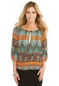 Cato Fashions Sheer Aztec Envelope Top and Cami #CatoFashions
