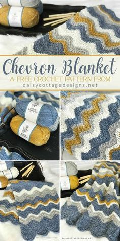 Use this chevron blanket crochet pattern from Daisy Cottage Designs to create a beautiful afghan in any size.   crochet bad blanket, crochet afghan pattern, easy crochet pattern, free crochet pattern, ripple crochet pattern