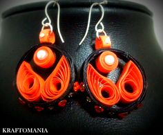 Handmade waterproof quilled earrings  material : acid free paper with swarovski flat base KM Q48