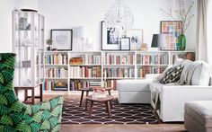 The low bookshelves are great for a formal living room/library! The room in daytime. IKEA sofa, armchair, bookcases, rug, coffee tables and glass display cabinet. Home Living Room, Interior, Home, Ikea Living Room, Room Inspiration, House Interior, Low Bookshelves, Home And Living, Ikea Sofa