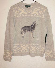 Lauren Ralph Lauren Gray White Dog Husky Wolf Lambswool Sweater Women's XL  #RalphLauren #Sweater #Christmas