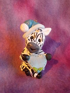 zebra Christmas ornament Cake Topper personalized polymer clay animal children. $19.95, via Etsy.