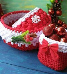 Faça você mesmo: Cestos de Natal com fio de malha | DIY Christmas