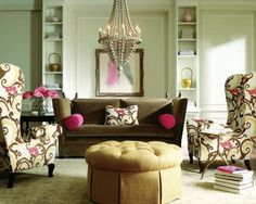 Eclectic Furniture? Why not! : Fair Image Of Living Room Decoration Using Eclectic Living Room Furniture Including Wing Back Pink Brown Floral Pattern Living Room Armchair And Round Dark Brown Chain Candle Living Room Chandeliers