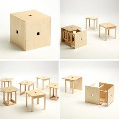 Cube 6 is a brilliant invention of designerNaho Matsuno. It allows us to solve the most common small space related problem – guest seating. This compact item, which in its folded state can serve as a stool or a side-table, unravels to reveal six stools.