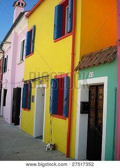 Burano island in Venice Photo Stock Images, Stock Photos, House Colors, Venice, My Photos, Island, Venice Italy, Islands