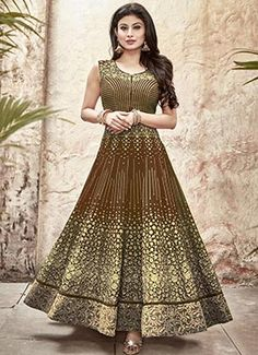 Coffee Brown Mouni Roy Ankle Length Anarkali Suit