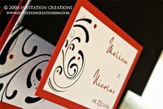 #modern #contemporary #swirl #wedding #invitation  www.invitationcreationspm.com #invitationcreations #pocketfold
