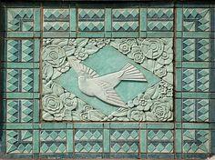 Art deco bird, terracotta bas relief, Chicago
