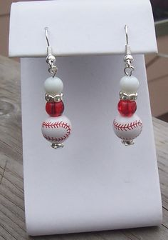 Red and White Baseball Earrings by pattistone on Etsy