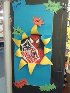 Maybe make this a hole to see inside the classroom if the door has glass Superhero Door Decorations Teachers, Minion Door Decorations, Superhero Classroom Decorations, Minion Classroom, School Decorations, Classroom Themes, Fall Classroom Door, Superhero School, Superhero Party