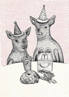 Illustration Veronique de Jong.  Seen on HappyMakersBlog.com.  #illustration #postcard #kerstkaartencountdown